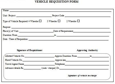 Company Car Requisition Form