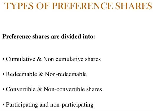 different types of preference shares